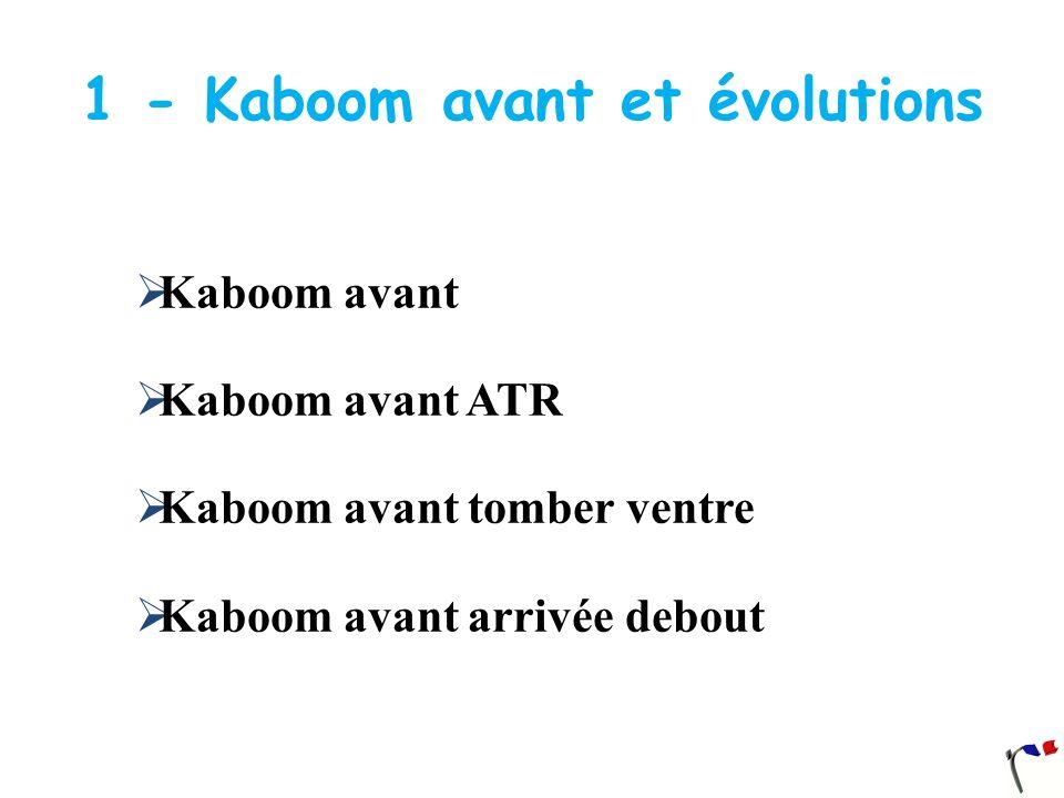 1 - Kaboom avant et évolutions Kaboom avant Kaboom avant ATR Kaboom avant tomber ventre Kaboom avant arrivée debout