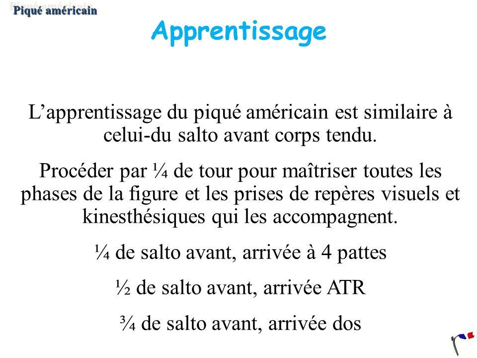 Apprentissage Lapprentissage du piqué américain est similaire à celui-du salto avant corps tendu. Procéder par ¼ de tour pour maîtriser toutes les pha