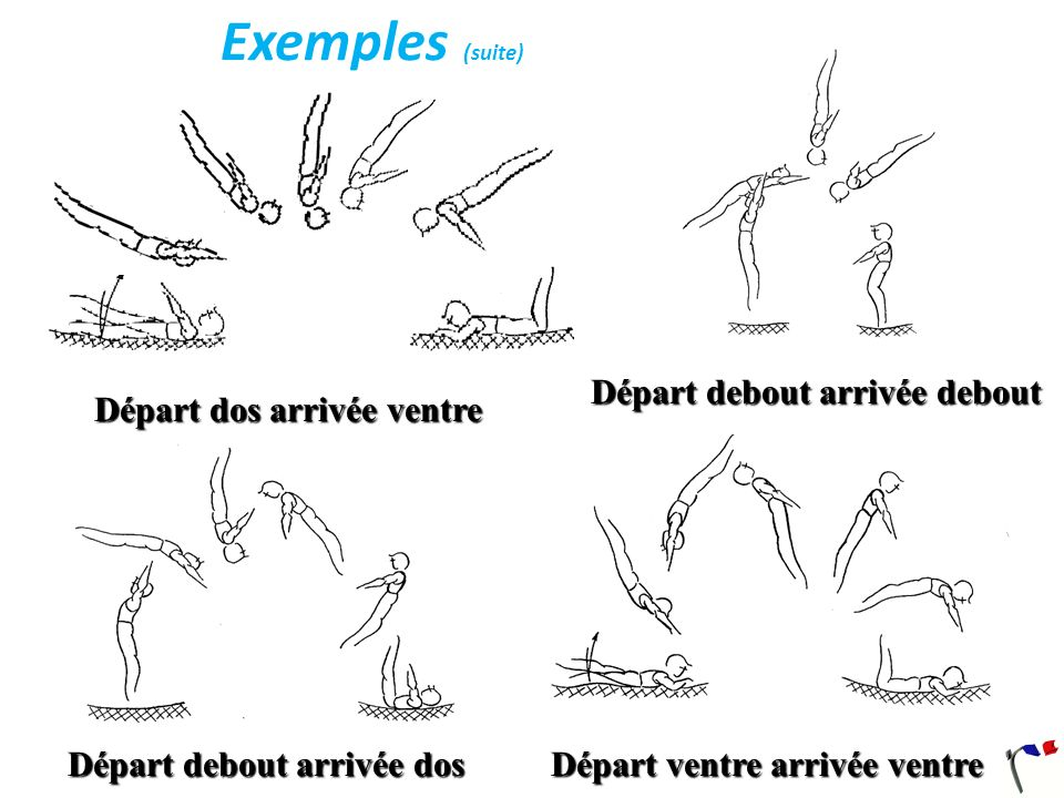 Salto avant: Description De la position debout, rotation transversale avant de 360° en position groupée