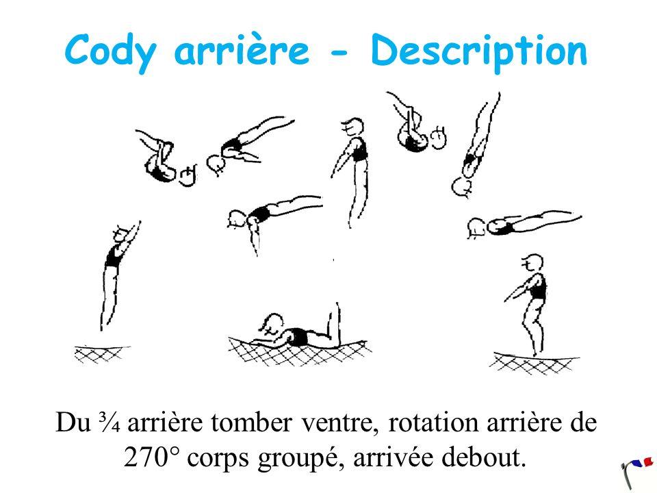 Cody arrière - Description Du ¾ arrière tomber ventre, rotation arrière de 270° corps groupé, arrivée debout.