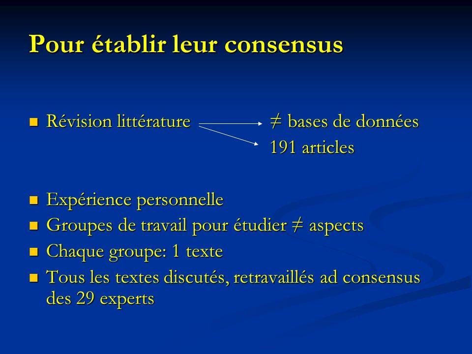 Pour établir leur consensus Révision littérature bases de données Révision littérature bases de données 191 articles 191 articles Expérience personnel