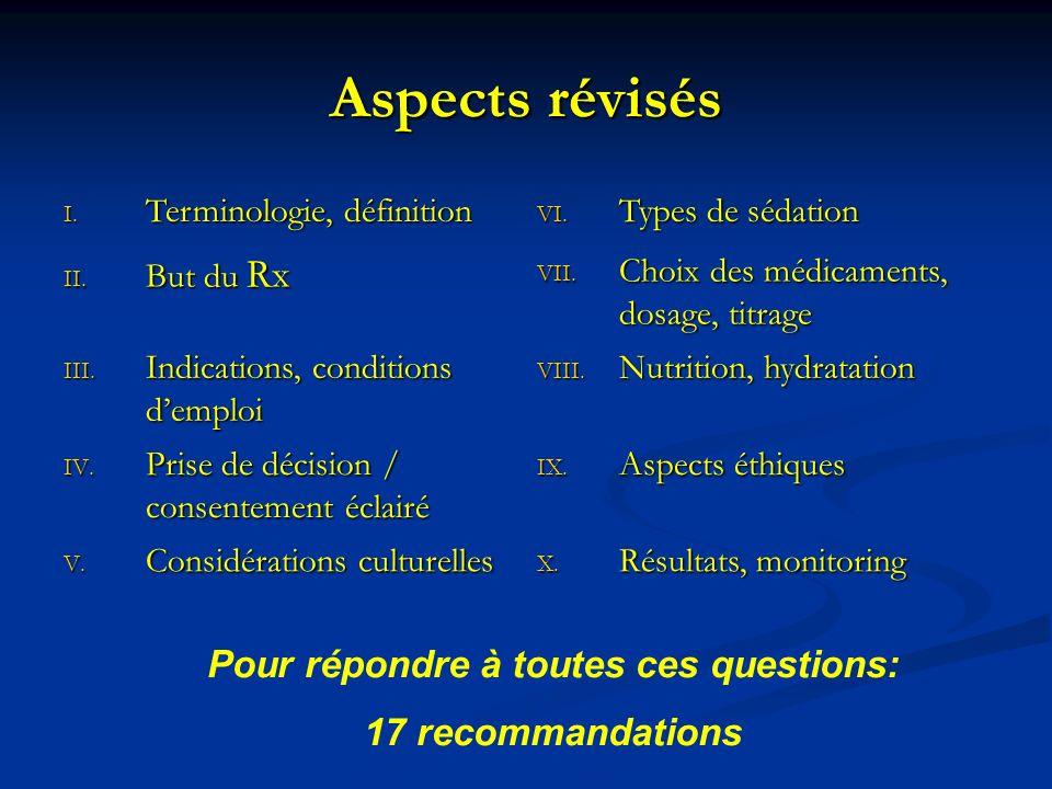 Aspects révisés I. Terminologie, définition VI. Types de sédation II. But du Rx VII. Choix des médicaments, dosage, titrage III. Indications, conditio