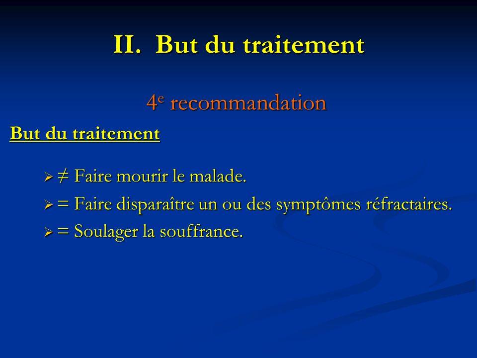 4 e recommandation But du traitement Faire mourir le malade. Faire mourir le malade. = Faire disparaître un ou des symptômes réfractaires. = Faire dis