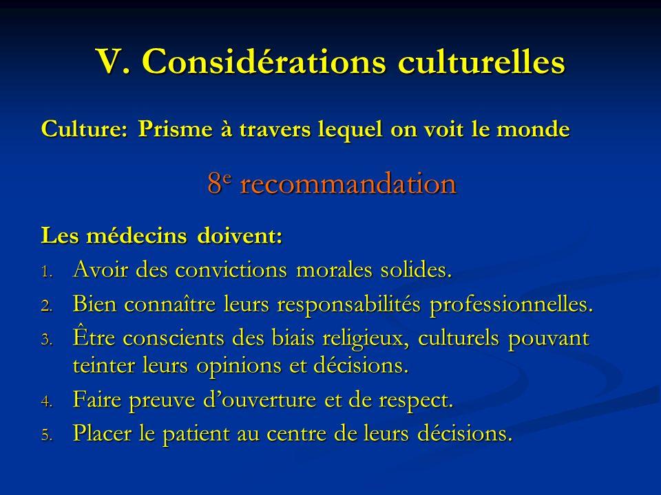 Culture:Prisme à travers lequel on voit le monde 8 e recommandation Les médecins doivent: 1. Avoir des convictions morales solides. 2. Bien connaître