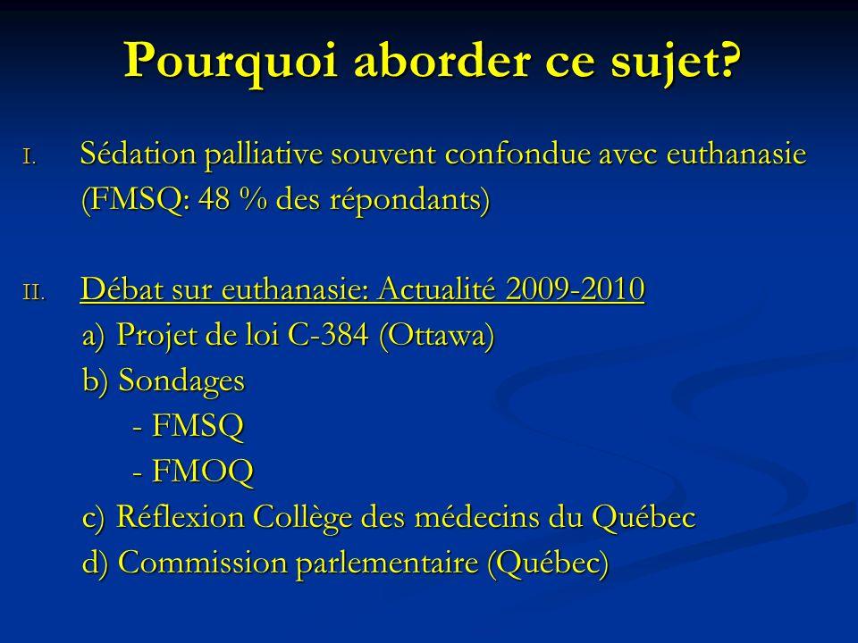 Pourquoi aborder ce sujet? I. Sédation palliative souvent confondue avec euthanasie (FMSQ: 48 % des répondants) II. Débat sur euthanasie: Actualité 20