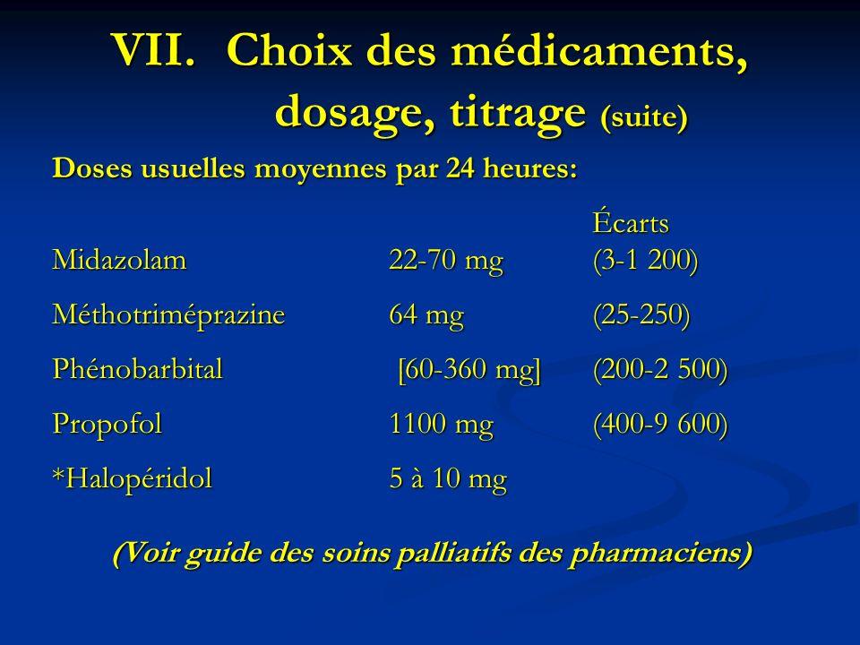 Doses usuelles moyennes par 24 heures: Écarts Midazolam22-70 mg(3-1 200) Méthotriméprazine64 mg(25-250) Phénobarbital [60-360 mg](200-2 500) Propofol1