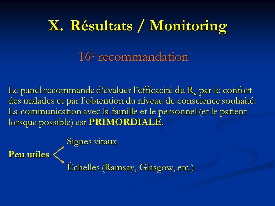 16 e recommandation Le panel recommande dévaluer lefficacité du R x par le confort des malades et par lobtention du niveau de conscience souhaité. La