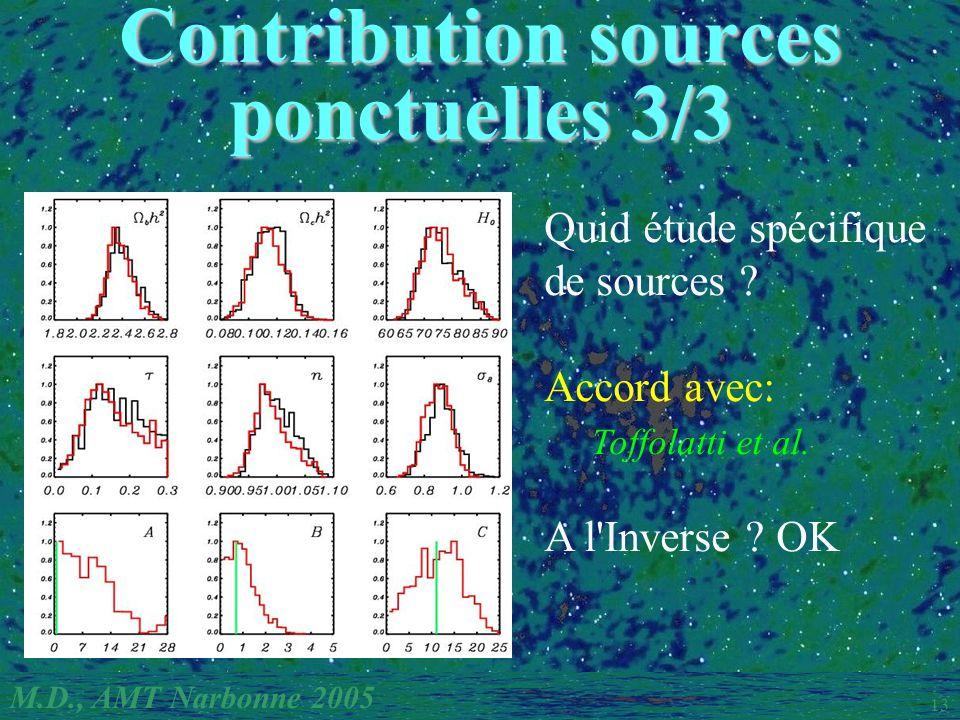 M.D., AMT Narbonne 2005 13 Quid étude spécifique de sources ? Accord avec: Toffolatti et al. A l'Inverse ? OK Contribution sources ponctuelles 3/3