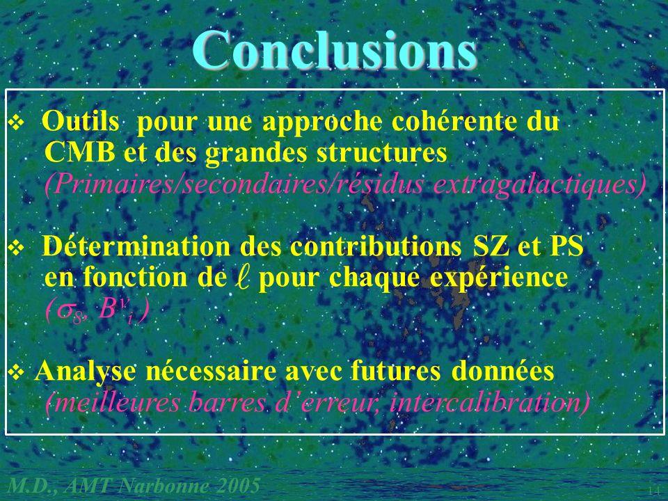 M.D., AMT Narbonne 2005 14 Conclusions Outils pour une approche cohérente du CMB et des grandes structures (Primaires/secondaires/résidus extragalactiques) Détermination des contributions SZ et PS en fonction de pour chaque expérience ( 8, B i ) Analyse nécessaire avec futures données (meilleures barres derreur, intercalibration)
