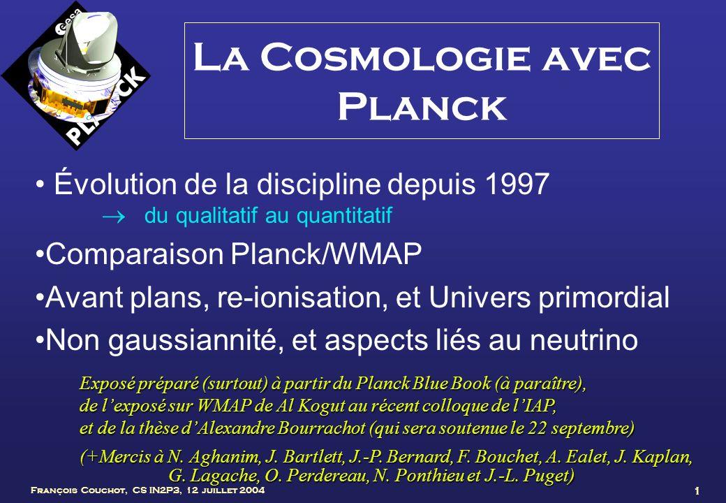 François Couchot, CS IN2P3, 12 juillet 2004 22 Corrélations T - E Soustraction de la polarisation de la poussière essentielle à bas l (Archeops, Ponthieu et al.)