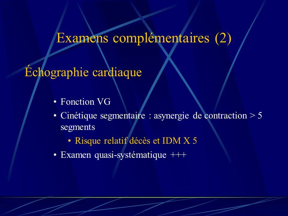 Examens complémentaires (2) Échographie cardiaque Fonction VG Cinétique segmentaire : asynergie de contraction > 5 segments Risque relatif décès et ID