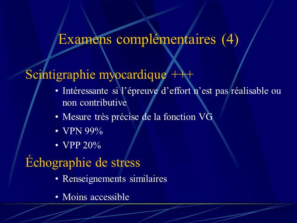 Examens complémentaires (4) Scintigraphie myocardique +++ Intéressante si lépreuve deffort nest pas réalisable ou non contributive Mesure très précise