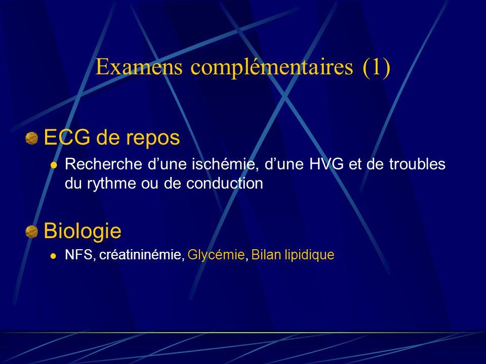 Examens complémentaires (1) ECG de repos Recherche dune ischémie, dune HVG et de troubles du rythme ou de conduction Biologie NFS, créatininémie, Glyc