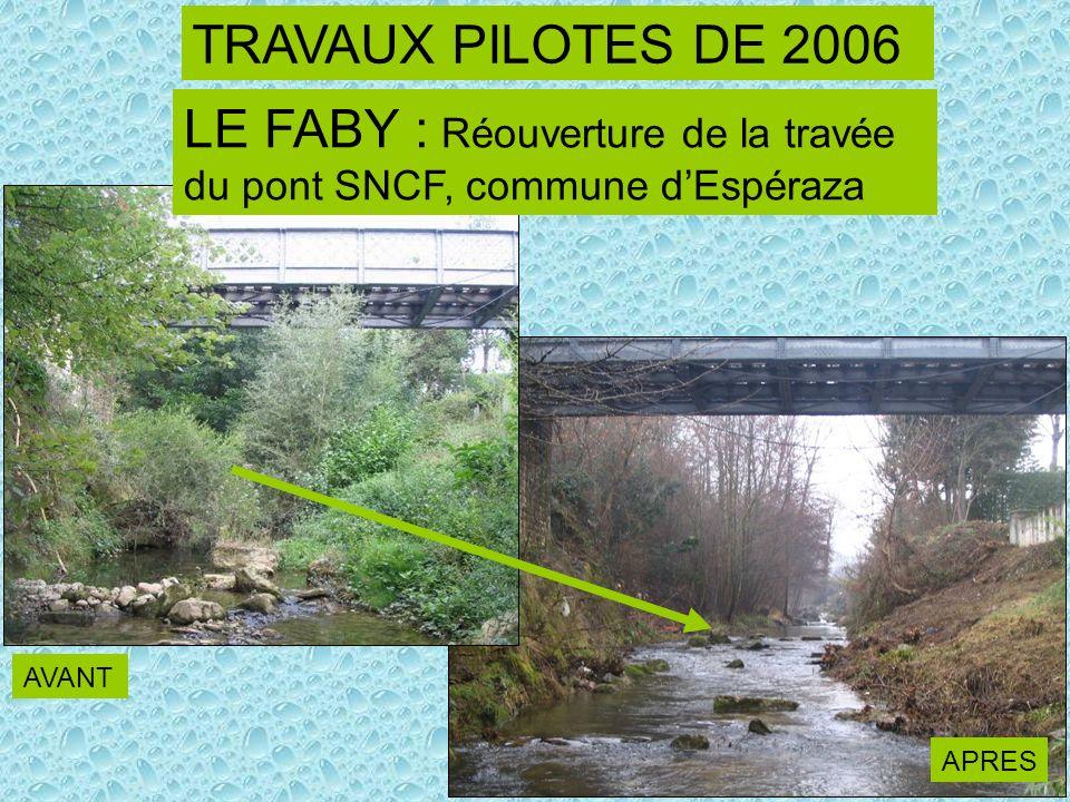 LE FABY : Réouverture de la travée du pont SNCF, commune dEspéraza TRAVAUX PILOTES DE 2006 AVANT APRES