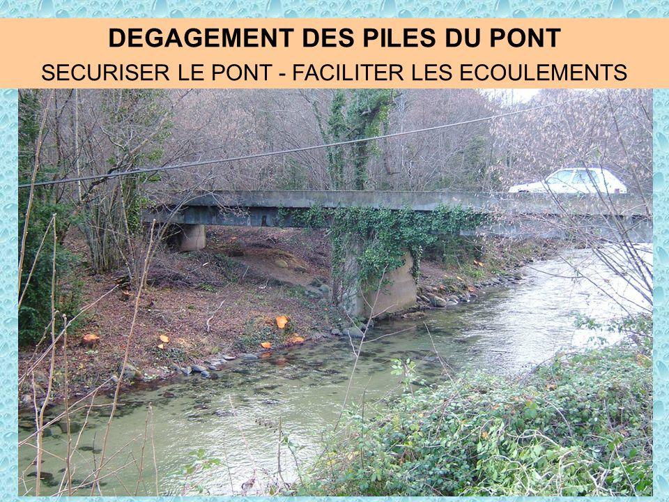 DEGAGEMENT DES PILES DU PONT SECURISER LE PONT - FACILITER LES ECOULEMENTS