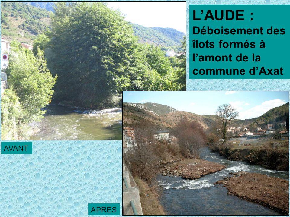 LAUDE : Déboisement des îlots formés à lamont de la commune dAxat AVANT APRES