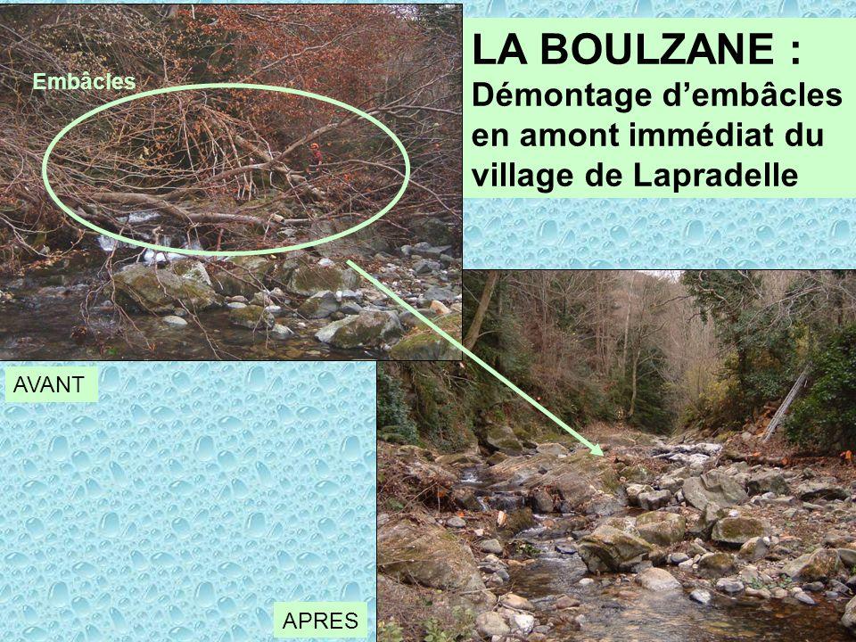 LA BOULZANE : Démontage dembâcles en amont immédiat du village de Lapradelle AVANT APRES Embâcles