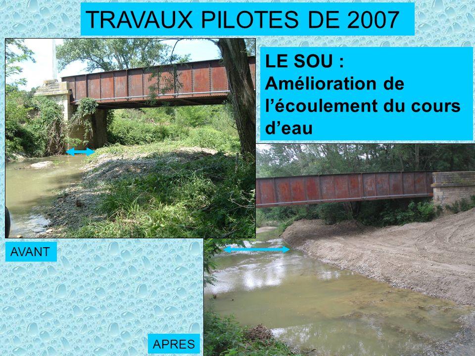 TRAVAUX PILOTES DE 2007 LE SOU : Amélioration de lécoulement du cours deau AVANT APRES