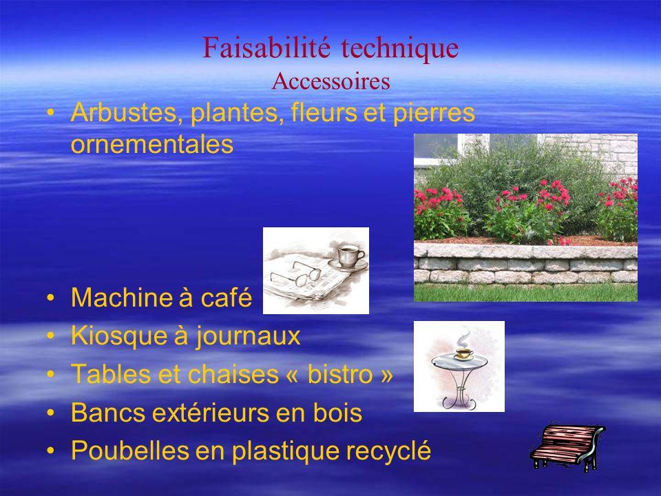 Faisabilité technique Accessoires Arbustes, plantes, fleurs et pierres ornementales Machine à café Kiosque à journaux Tables et chaises « bistro » Bancs extérieurs en bois Poubelles en plastique recyclé