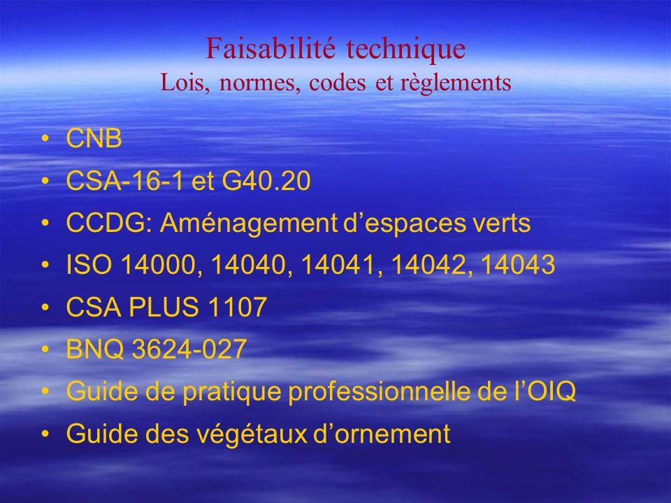 Faisabilité technique Lois, normes, codes et règlements CNB CSA-16-1 et G40.20 CCDG: Aménagement despaces verts ISO 14000, 14040, 14041, 14042, 14043 CSA PLUS 1107 BNQ 3624-027 Guide de pratique professionnelle de lOIQ Guide des végétaux dornement