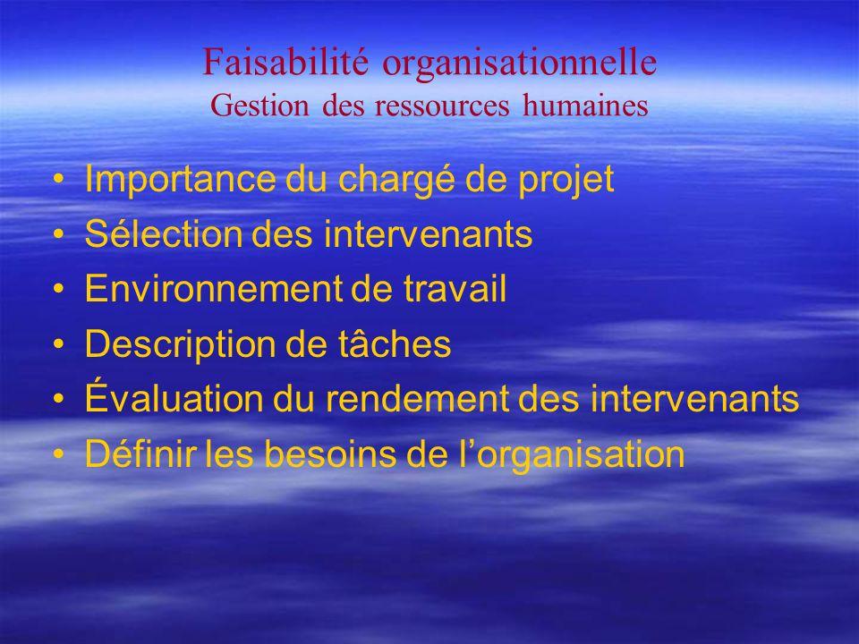 Faisabilité organisationnelle Gestion des ressources humaines Importance du chargé de projet Sélection des intervenants Environnement de travail Description de tâches Évaluation du rendement des intervenants Définir les besoins de lorganisation