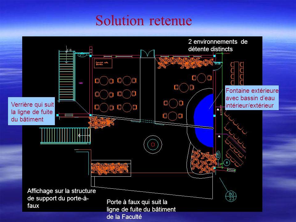Solution retenue 2 environnements de détente distincts Affichage sur la structure de support du porte-à- faux Porte à faux qui suit la ligne de fuite du bâtiment de la Faculté Verrière qui suit la ligne de fuite du bâtiment Fontaine extérieure avec bassin deau intérieur/extérieur