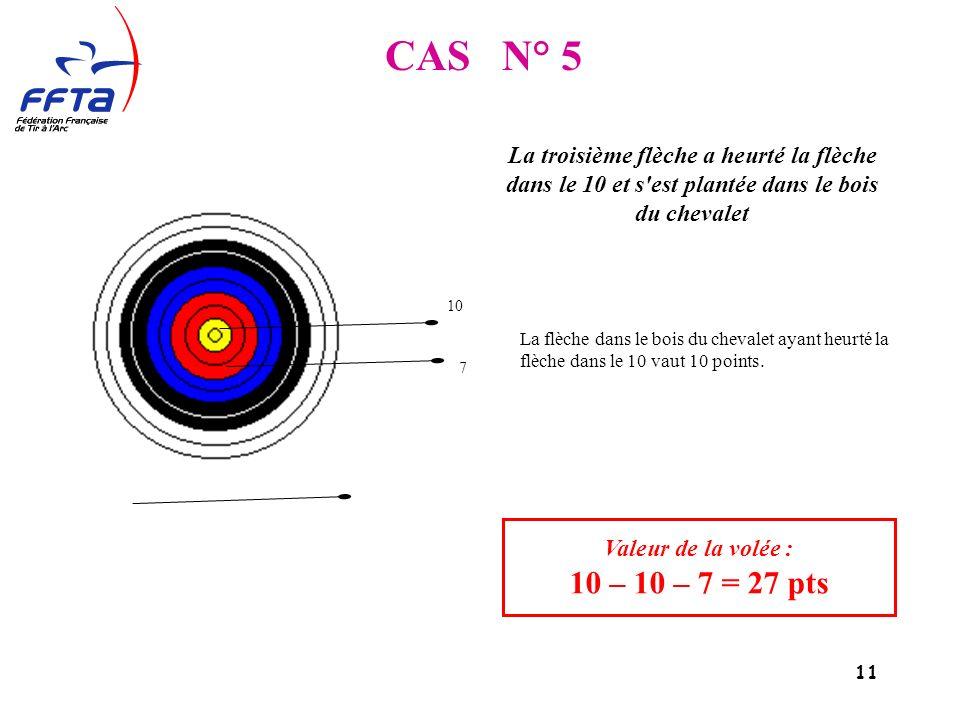 11 CAS N° 5 Valeur de la volée : 10 – 10 – 7 = 27 pts La troisième flèche a heurté la flèche dans le 10 et s est plantée dans le bois du chevalet 10 7 La flèche dans le bois du chevalet ayant heurté la flèche dans le 10 vaut 10 points.