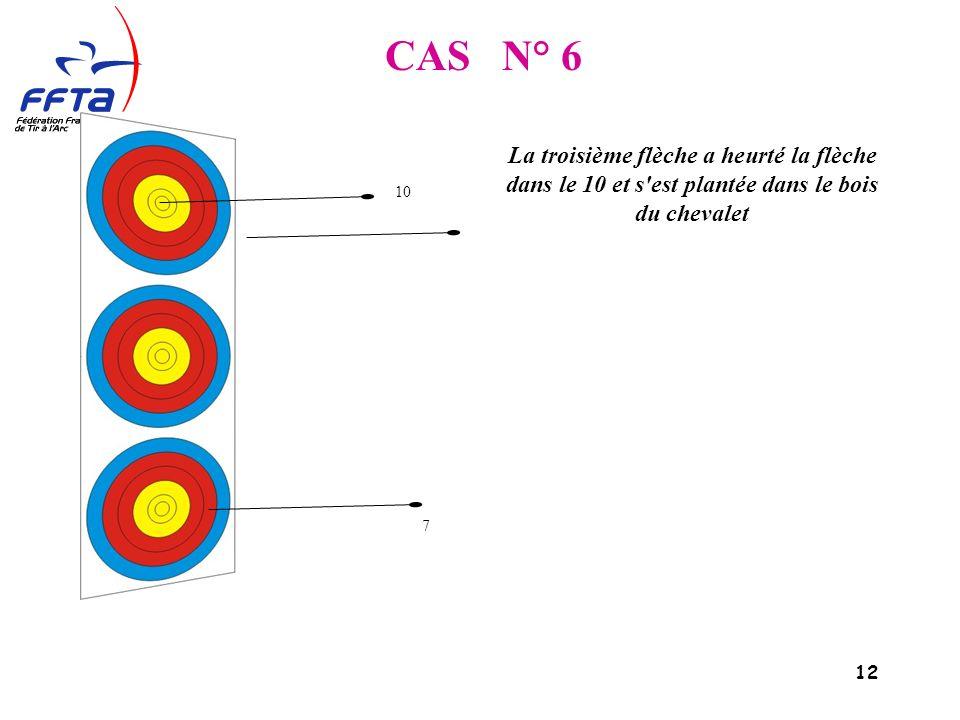 12 CAS N° 6 La troisième flèche a heurté la flèche dans le 10 et s est plantée dans le bois du chevalet 10 7