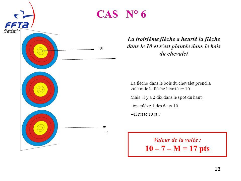 13 CAS N° 6 Valeur de la volée : 10 – 7 – M = 17 pts La troisième flèche a heurté la flèche dans le 10 et s est plantée dans le bois du chevalet La flèche dans le bois du chevalet prend la valeur de la flèche heurtée = 10.