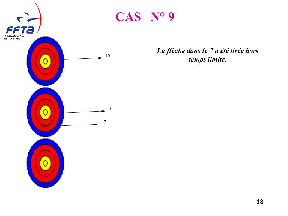 18 CAS N° 9 La flèche dans le 7 a été tirée hors temps limite. 10 9 7