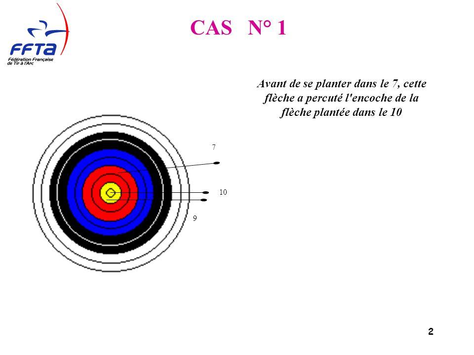 2 Avant de se planter dans le 7, cette flèche a percuté l encoche de la flèche plantée dans le 10 9 7 10 CAS N° 1