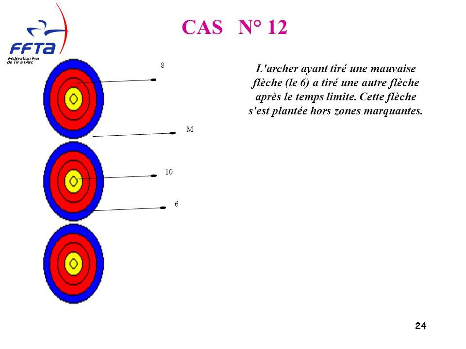 24 CAS N° 12 L archer ayant tiré une mauvaise flèche (le 6) a tiré une autre flèche après le temps limite.