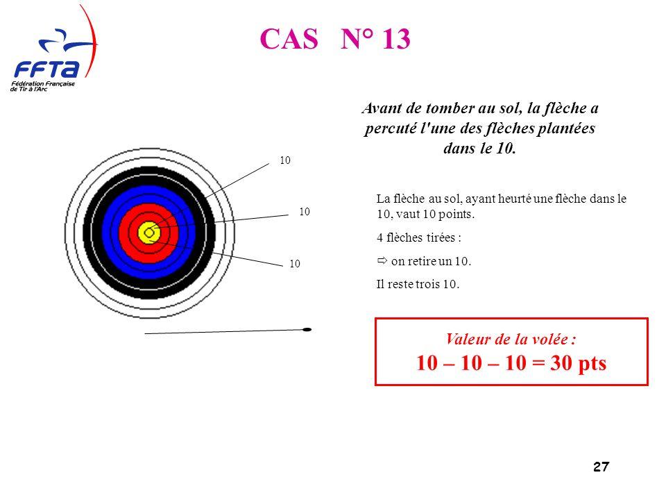 27 CAS N° 13 Valeur de la volée : 10 – 10 – 10 = 30 pts Avant de tomber au sol, la flèche a percuté l une des flèches plantées dans le 10.