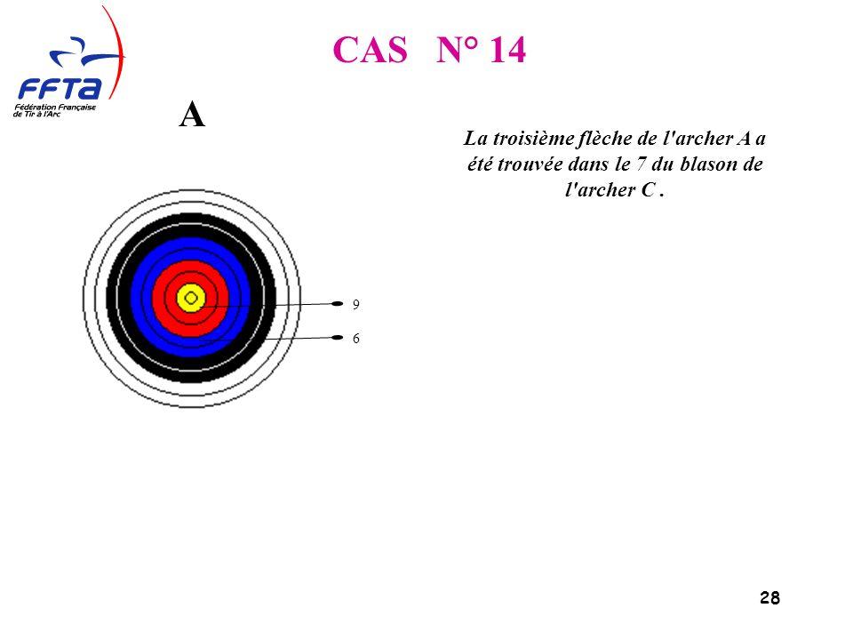 28 CAS N° 14 La troisième flèche de l archer A a été trouvée dans le 7 du blason de l archer C.