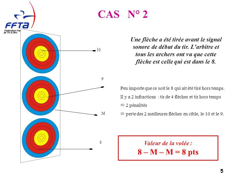5 Valeur de la volée : 8 – M – M = 8 pts CAS N° 2 10 9 M 8 Peu importe que ce soit le 8 qui ait été tiré hors temps.