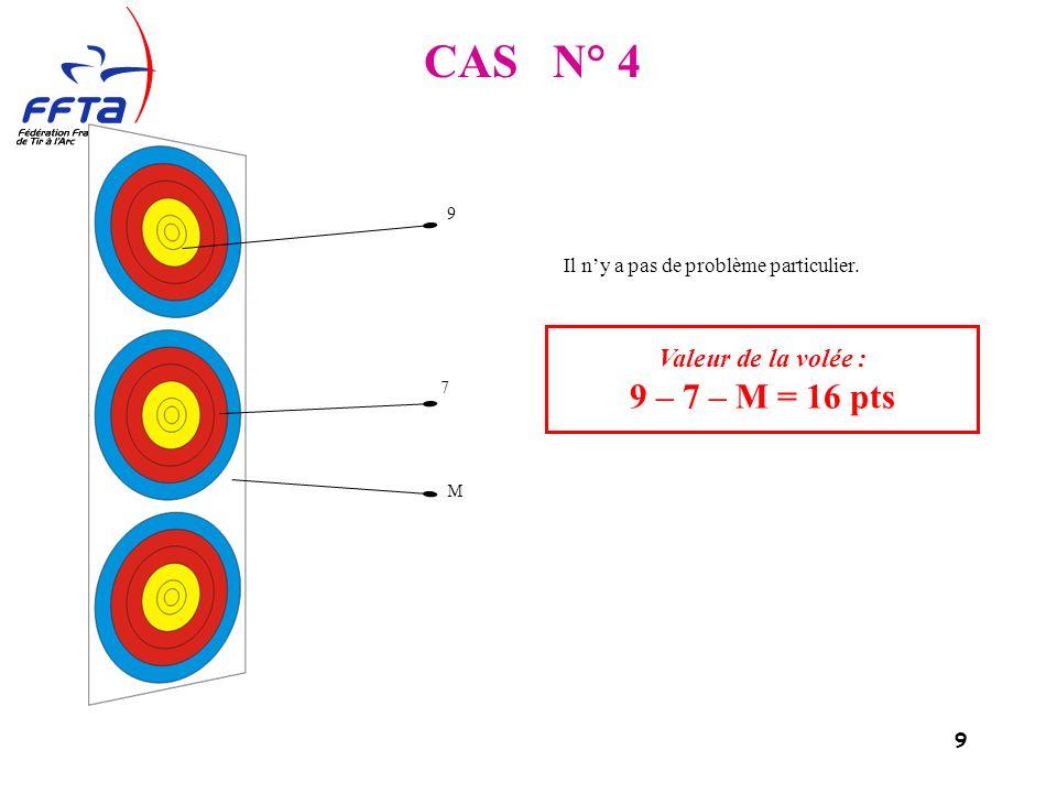 9 Valeur de la volée : 9 – 7 – M = 16 pts 9 7 M Il ny a pas de problème particulier.