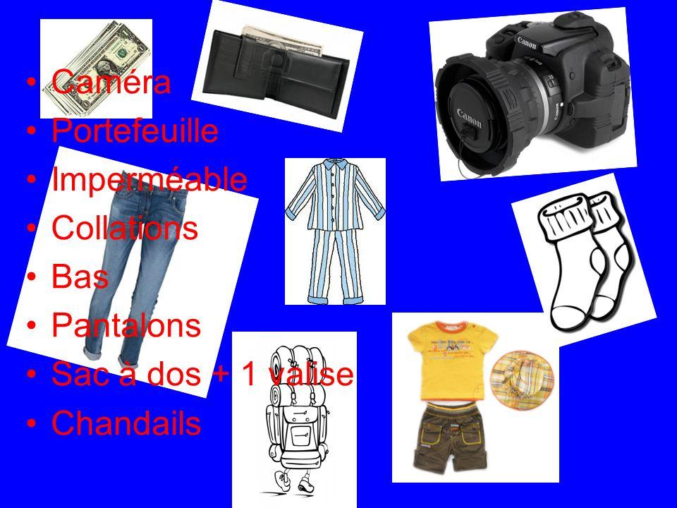 Caméra Portefeuille Imperméable Collations Bas Pantalons Sac à dos + 1 valise Chandails