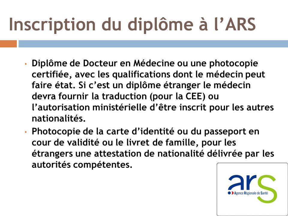 Inscription du diplôme à lARS Diplôme de Docteur en Médecine ou une photocopie certifiée, avec les qualifications dont le médecin peut faire état.