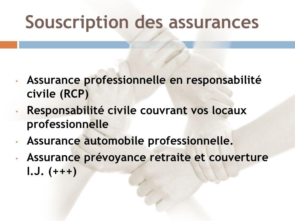 Souscription des assurances Assurance professionnelle en responsabilité civile (RCP) Responsabilité civile couvrant vos locaux professionnelle Assurance automobile professionnelle.