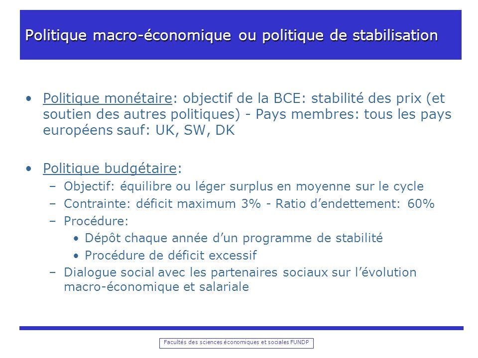 Facultés des sciences économiques et sociales FUNDP Politique macro-économique ou politique de stabilisation Politique monétaire: objectif de la BCE: stabilité des prix (et soutien des autres politiques) - Pays membres: tous les pays européens sauf: UK, SW, DK Politique budgétaire: –Objectif: équilibre ou léger surplus en moyenne sur le cycle –Contrainte: déficit maximum 3% - Ratio dendettement: 60% –Procédure: Dépôt chaque année dun programme de stabilité Procédure de déficit excessif –Dialogue social avec les partenaires sociaux sur lévolution macro-économique et salariale