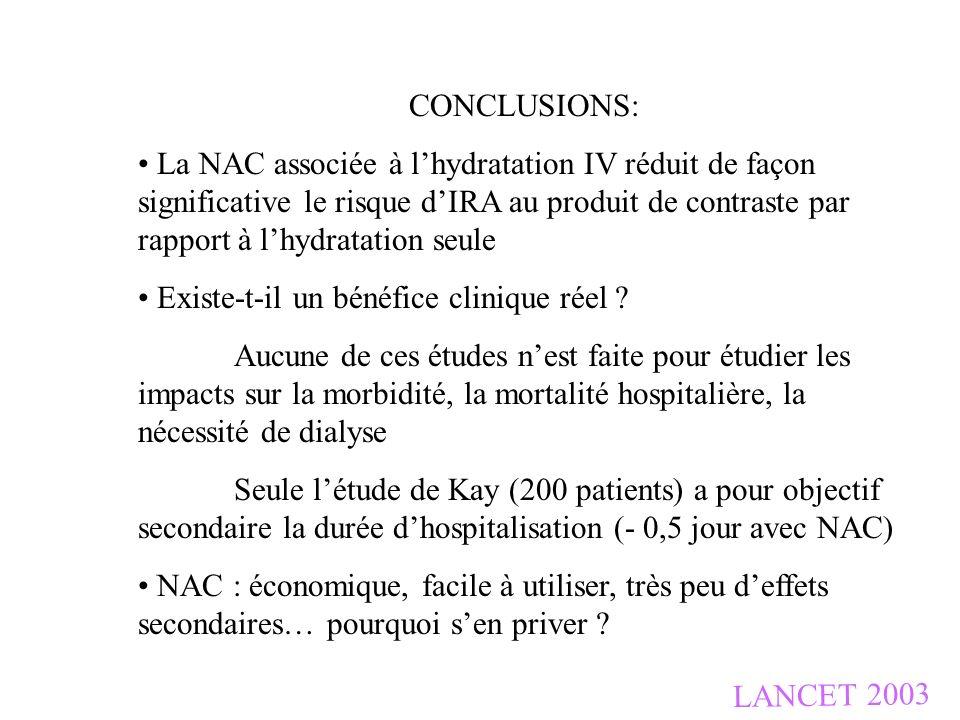 LANCET 2003 CONCLUSIONS: La NAC associée à lhydratation IV réduit de façon significative le risque dIRA au produit de contraste par rapport à lhydrata
