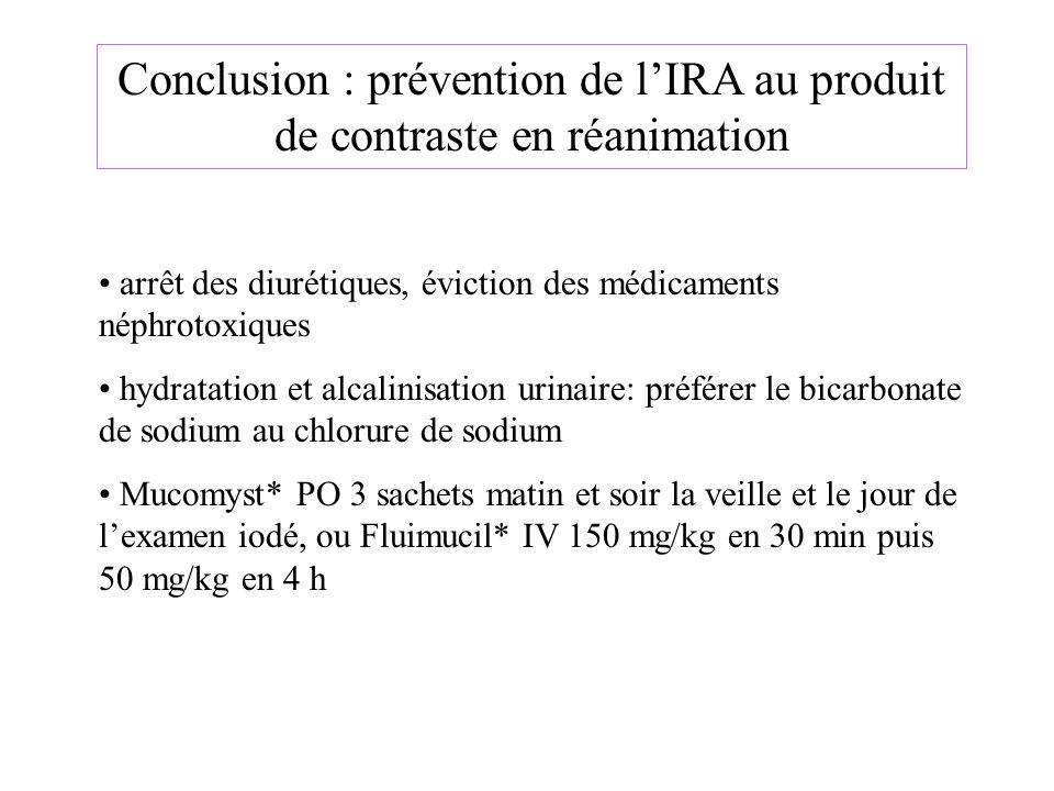 Conclusion : prévention de lIRA au produit de contraste en réanimation arrêt des diurétiques, éviction des médicaments néphrotoxiques hydratation et a
