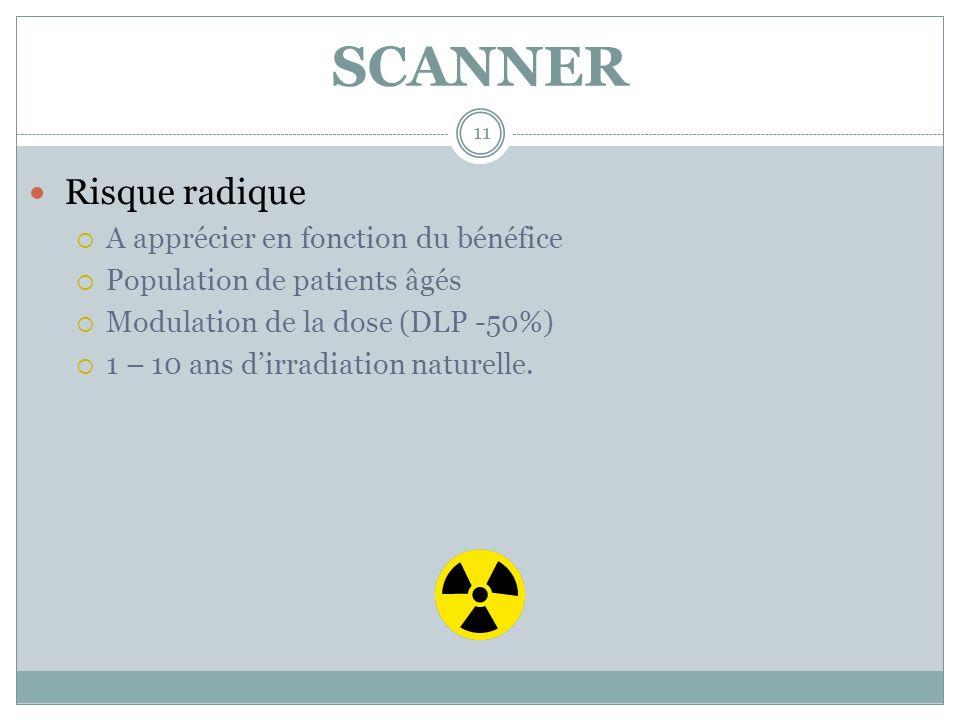 SCANNER 11 Risque radique A apprécier en fonction du bénéfice Population de patients âgés Modulation de la dose (DLP -50%) 1 – 10 ans dirradiation nat
