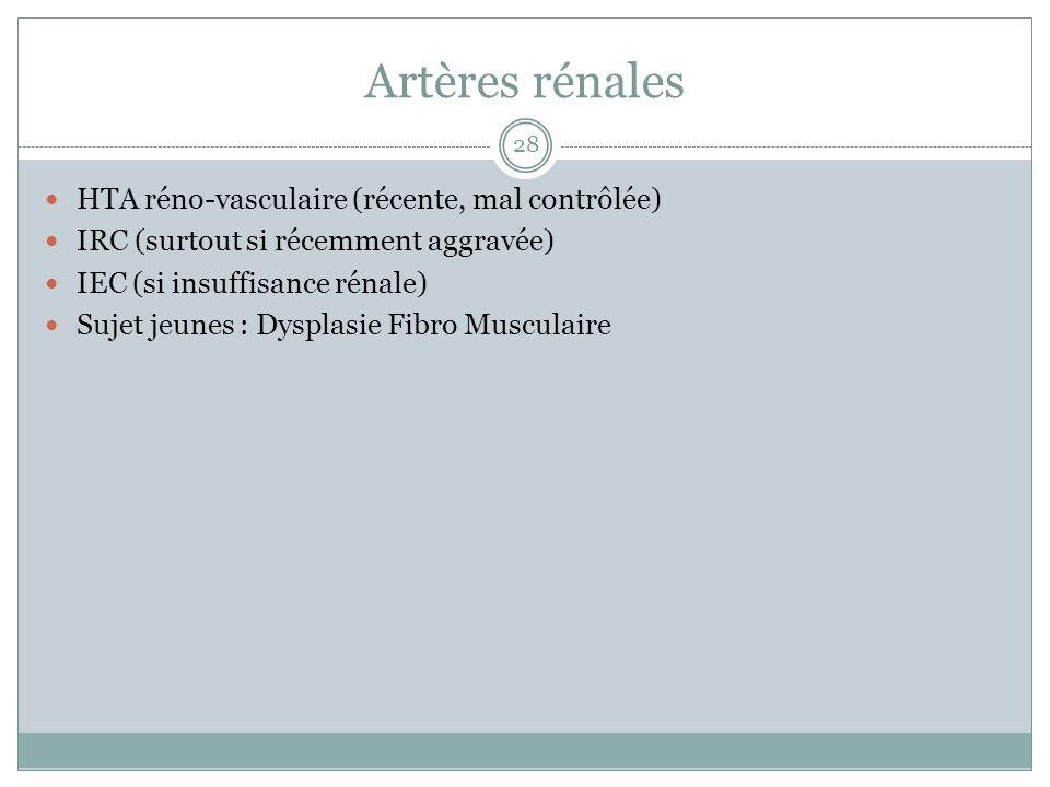 Artères rénales HTA réno-vasculaire (récente, mal contrôlée) IRC (surtout si récemment aggravée) IEC (si insuffisance rénale) Sujet jeunes : Dysplasie