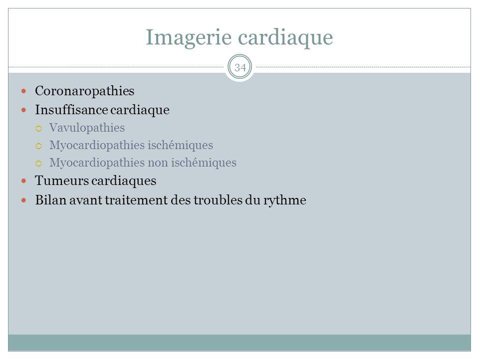 Imagerie cardiaque Coronaropathies Insuffisance cardiaque Vavulopathies Myocardiopathies ischémiques Myocardiopathies non ischémiques Tumeurs cardiaqu
