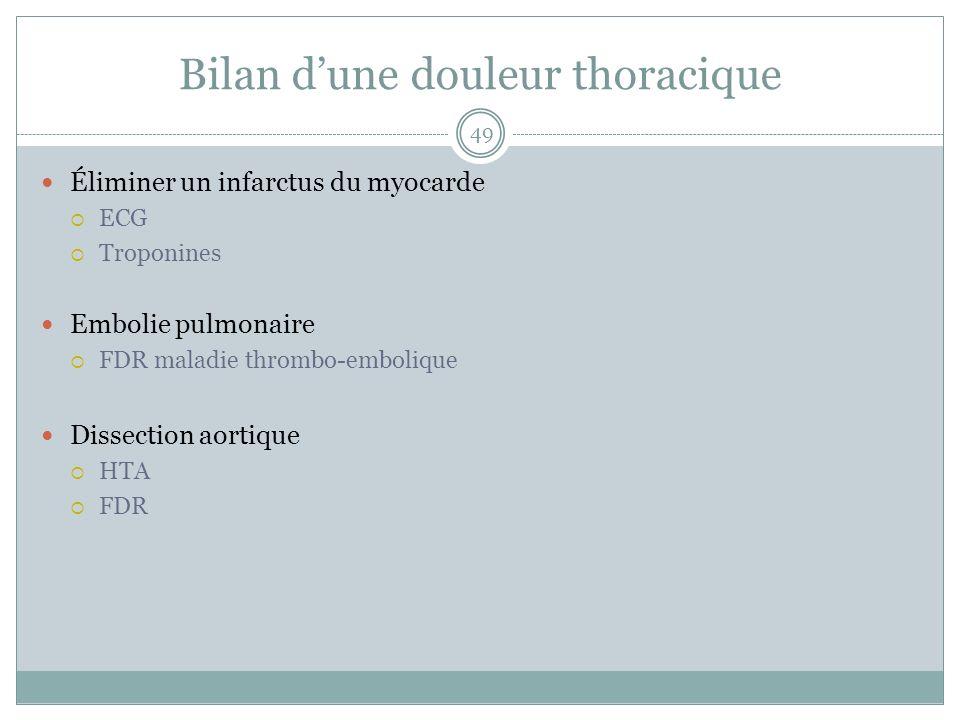 Bilan dune douleur thoracique Éliminer un infarctus du myocarde ECG Troponines Embolie pulmonaire FDR maladie thrombo-embolique Dissection aortique HT