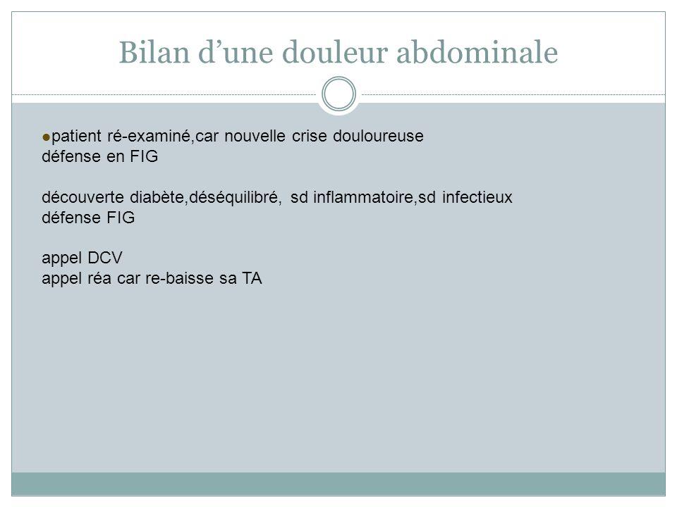 Bilan dune douleur abdominale patient ré-examiné,car nouvelle crise douloureuse défense en FIG découverte diabète,déséquilibré, sd inflammatoire,sd in