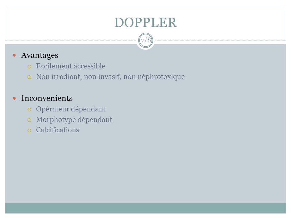 DOPPLER Avantages Facilement accessible Non irradiant, non invasif, non néphrotoxique Inconvenients Opérateur dépendant Morphotype dépendant Calcifica