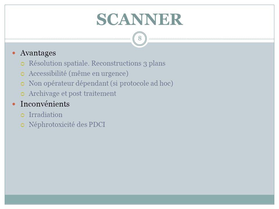 SCANNER 9 Risque rénal Patients âgés poly-vasculaires (± diabète) Calcul de la clairance systématique Ex Créat 100 µmol/l Femme 75 ans 60 kg: 40 ml/mn.