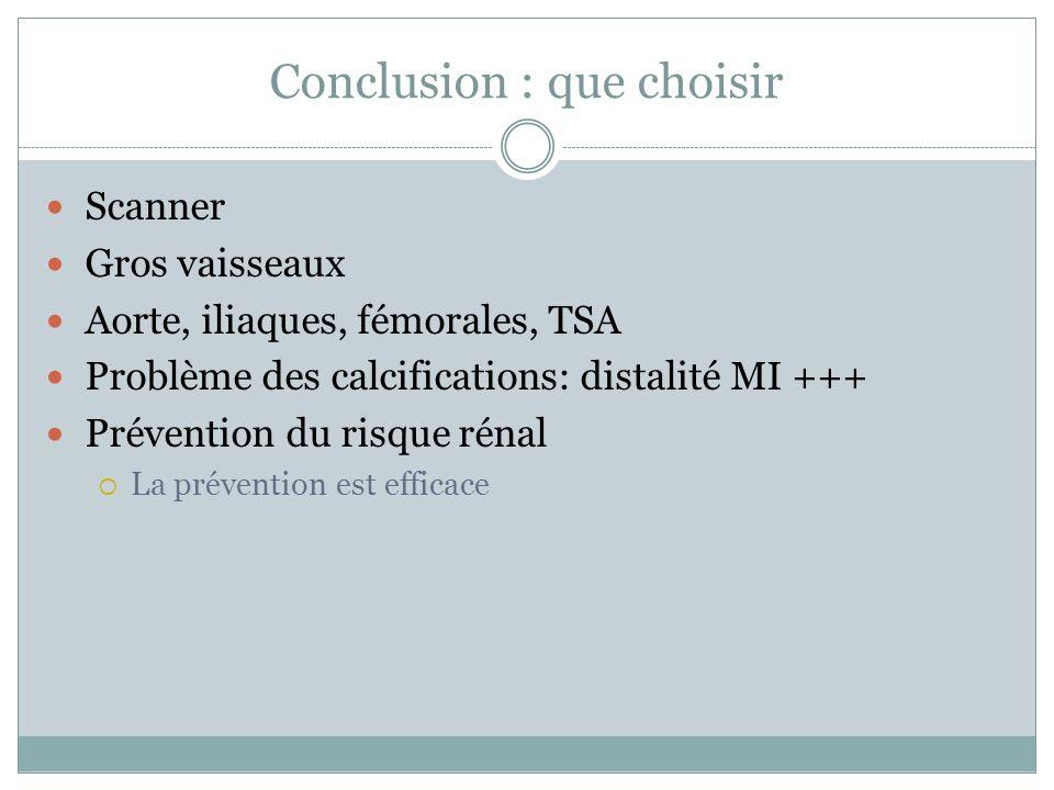 Conclusion : que choisir Scanner Gros vaisseaux Aorte, iliaques, fémorales, TSA Problème des calcifications: distalité MI +++ Prévention du risque rén